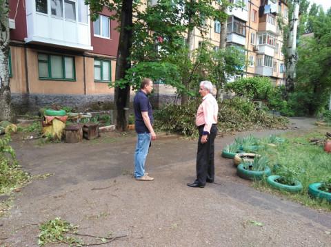 Произведено омоложение деревьев возле дома по ул. Героев АТО